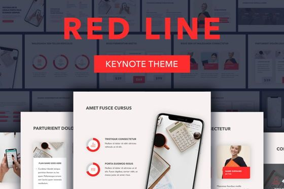 Presentation Templates: Red Line Keynote Template #04987