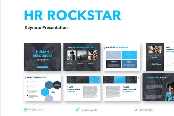 Education Charts and Diagrams: HR Rockstar Keynote Template #04996