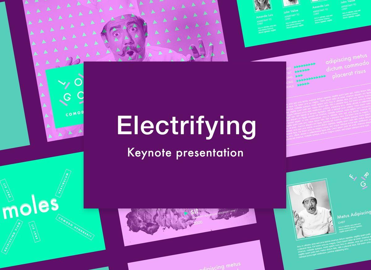 Electrifying Keynote Presentation Template, 05005, Presentation Templates — PoweredTemplate.com