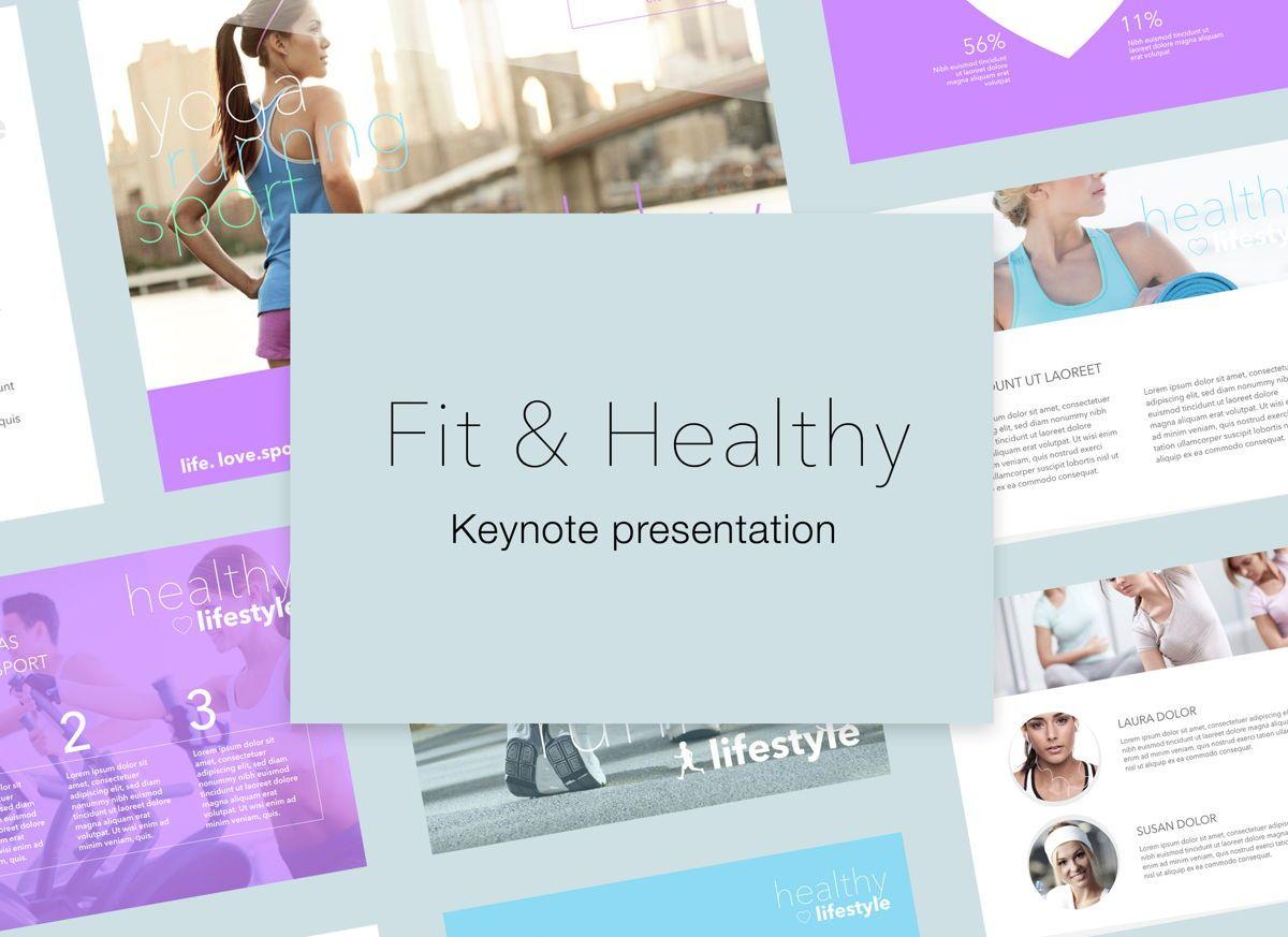 Fit Healthy Keynote Presentation Template, 05008, Presentation Templates — PoweredTemplate.com