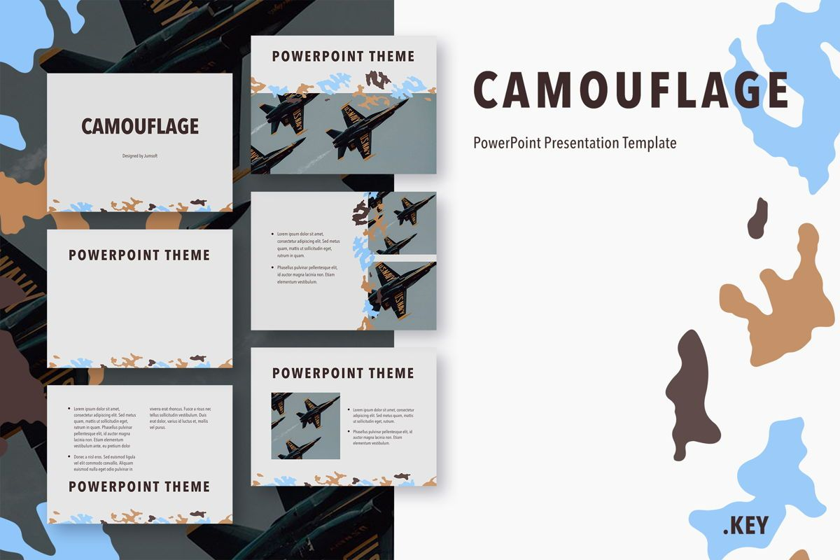 Camouflage PowerPoint Template, 05011, Presentation Templates — PoweredTemplate.com