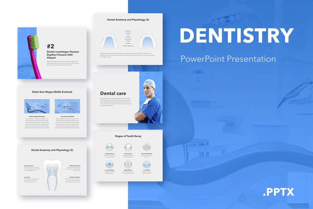 Dentistry PowerPoint Template, 05017, Medical Diagrams and Charts — PoweredTemplate.com