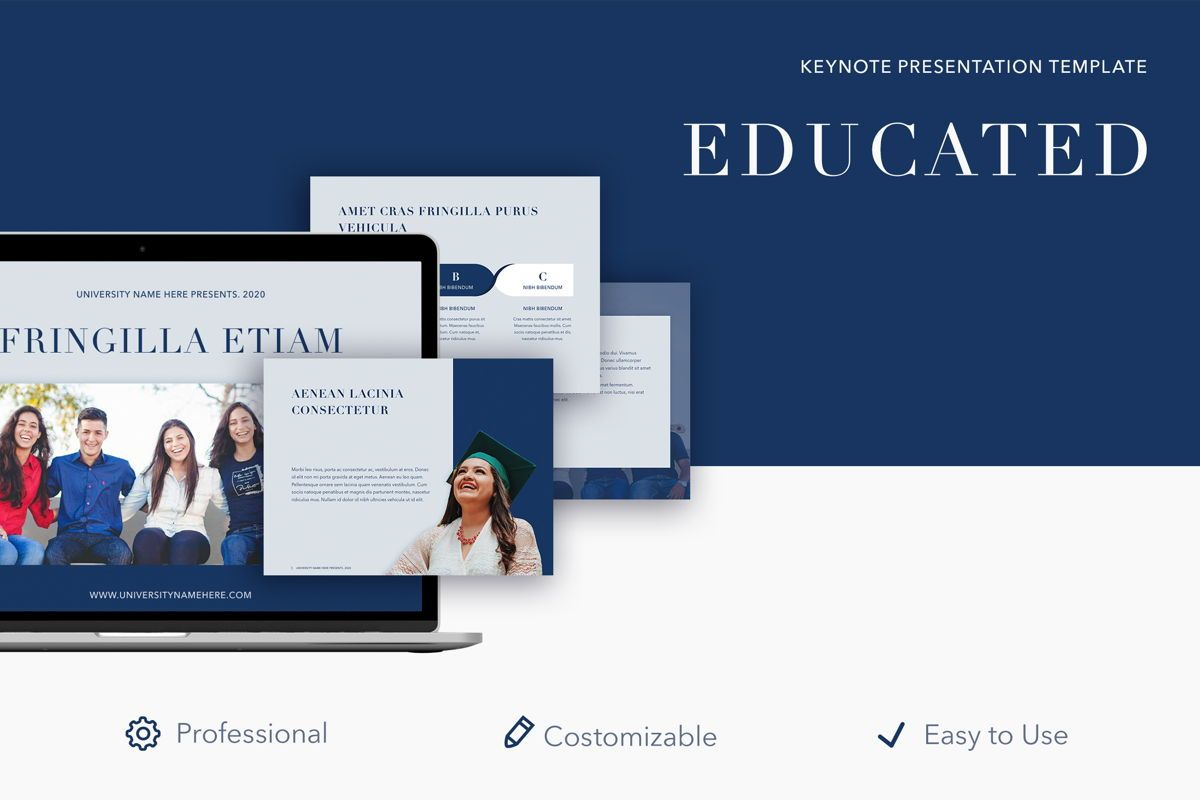 Educated Keynote Template, 05020, Education Charts and Diagrams — PoweredTemplate.com