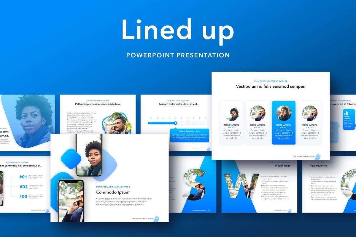 Lined Up PowerPoint Template, 05022, Presentation Templates — PoweredTemplate.com