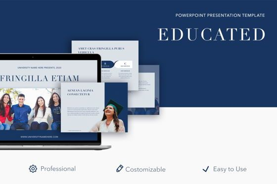 Education Charts and Diagrams: Educated PowerPoint Template #05024