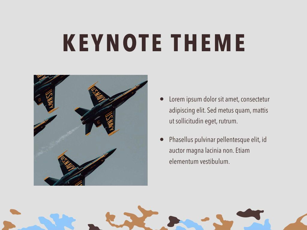 Camouflage Keynote Template, Slide 31, 05026, Presentation Templates — PoweredTemplate.com