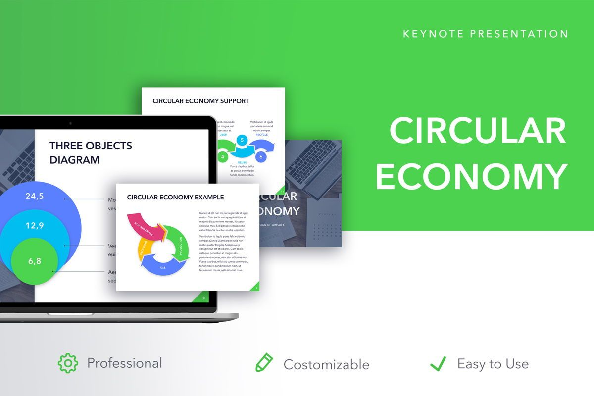 Circular Economy Keynote Template, 05029, Presentation Templates — PoweredTemplate.com