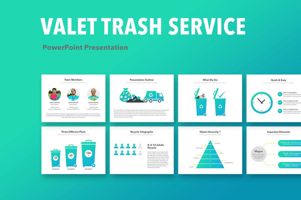 Valet Trash Service PowerPoint Template, 05042, Education Charts and Diagrams — PoweredTemplate.com