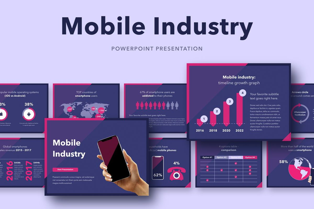 Mobile Industry PowerPoint Template, 05045, Presentation Templates — PoweredTemplate.com