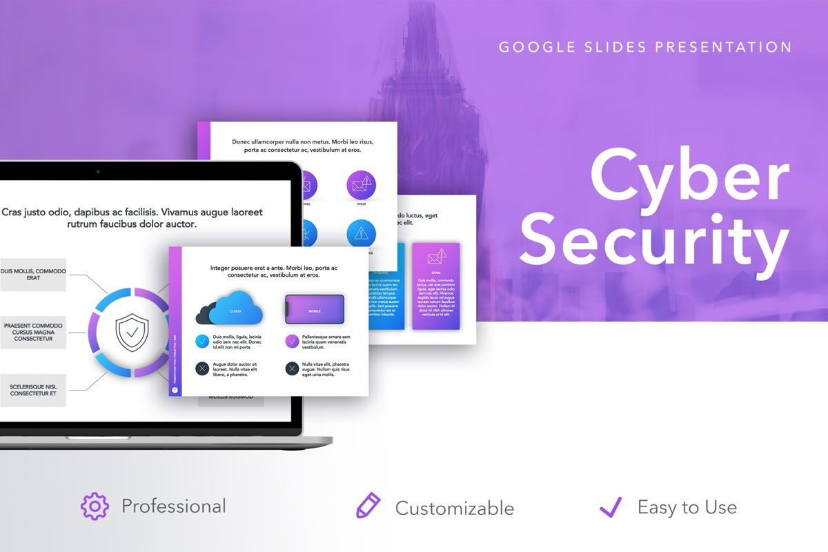 Cyber Security Google Slides Template, 05050, Presentation Templates — PoweredTemplate.com
