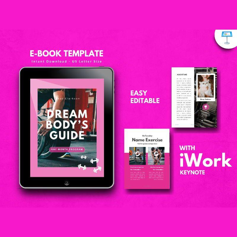 Fitness Girl eBook PowerPoint Presentation Template, 05055, Presentation Templates — PoweredTemplate.com