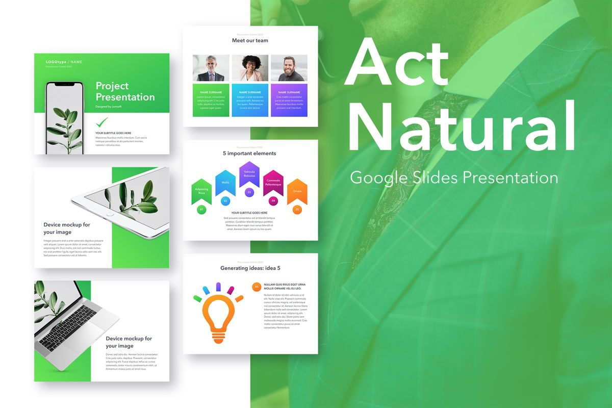Act Natural Google Slides Template, 05061, Presentation Templates — PoweredTemplate.com