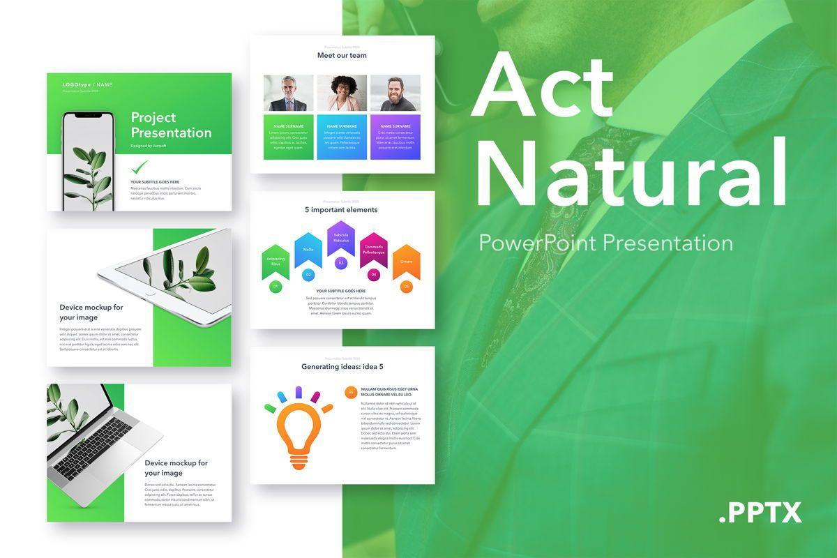 Act Natural PowerPoint Template, 05064, Presentation Templates — PoweredTemplate.com
