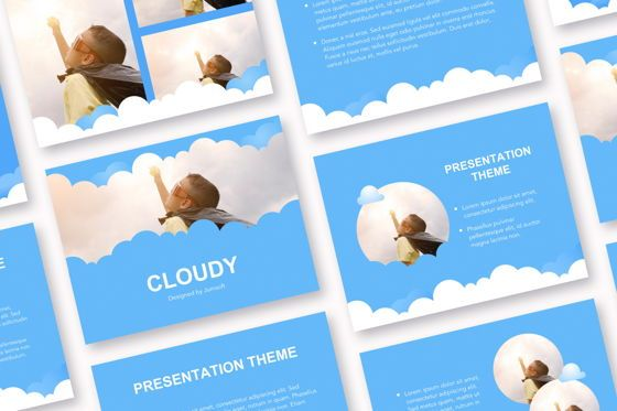 Education Charts and Diagrams: Cloudy Google Slides Template #05073