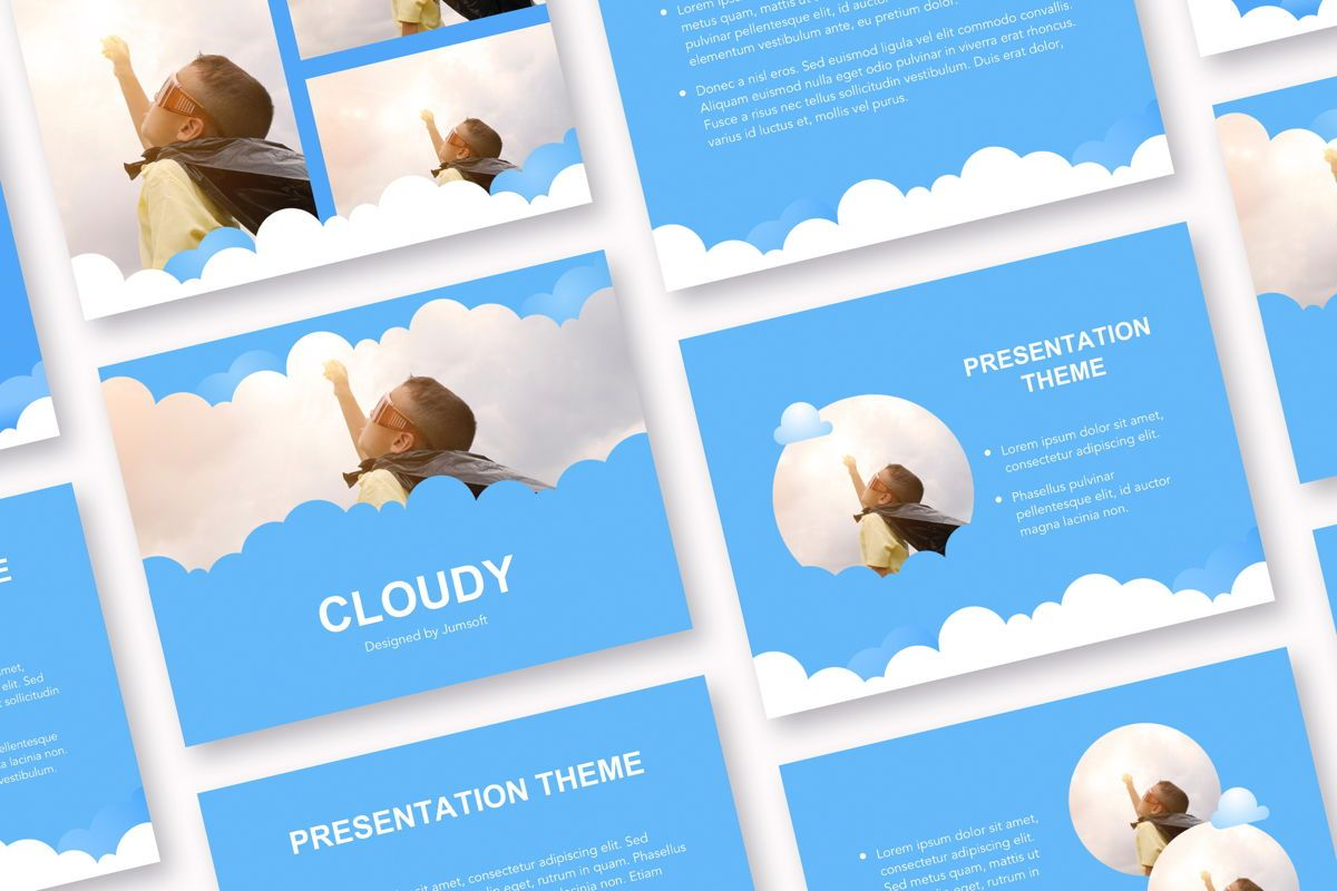 Cloudy Google Slides Template, 05073, Education Charts and Diagrams — PoweredTemplate.com