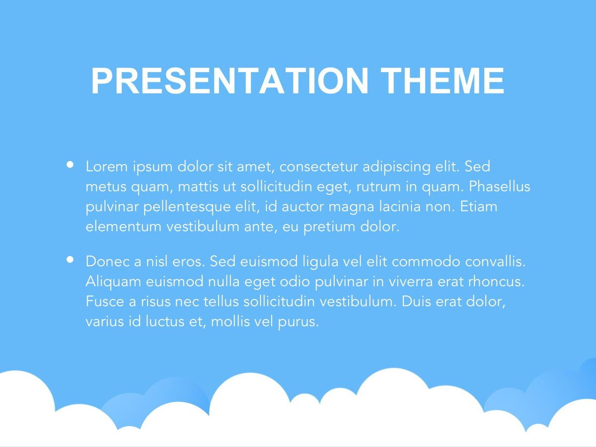 Cloudy Google Slides Template, Slide 3, 05073, Education Charts and Diagrams — PoweredTemplate.com