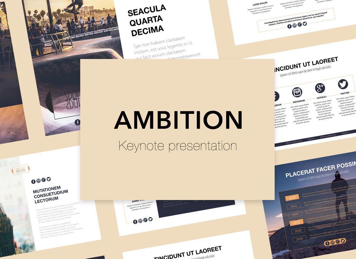Ambition Keynote Presentation Template, 05078, Presentation Templates — PoweredTemplate.com