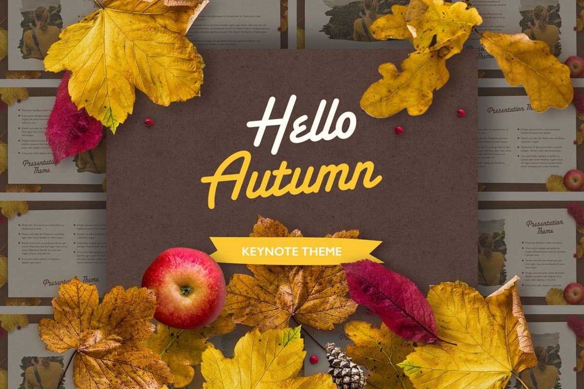 Golden Leaves Keynote Theme, 05079, Presentation Templates — PoweredTemplate.com