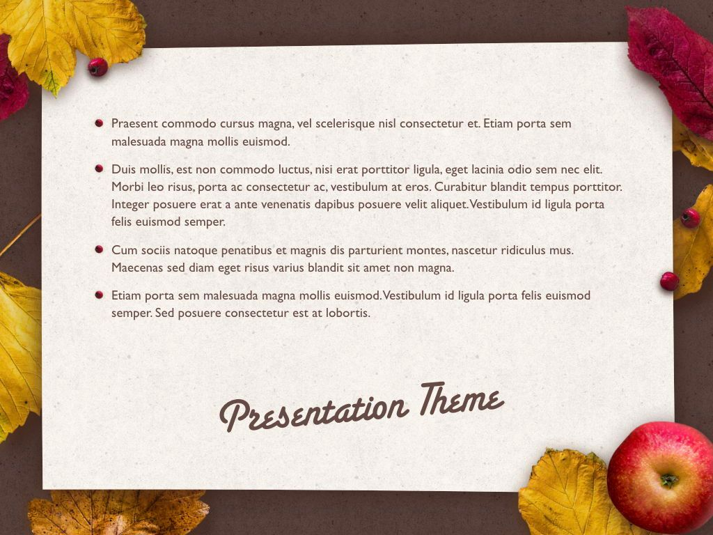 Golden Leaves Keynote Theme, Slide 11, 05079, Presentation Templates — PoweredTemplate.com
