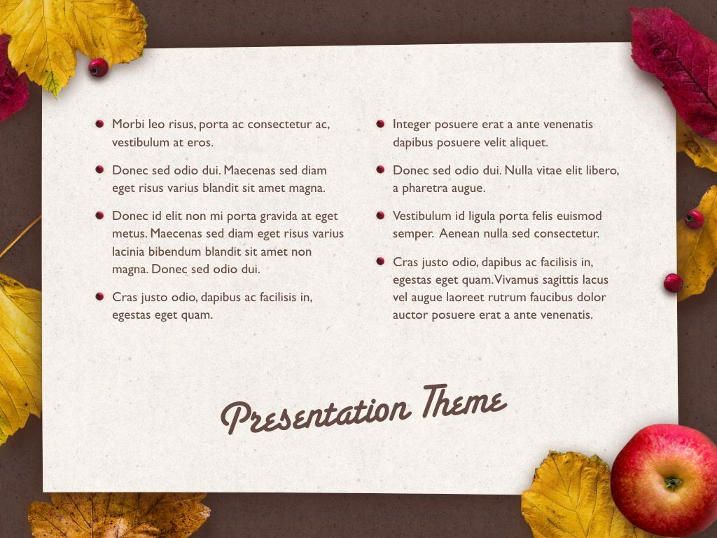 Golden Leaves Keynote Theme, Slide 12, 05079, Presentation Templates — PoweredTemplate.com