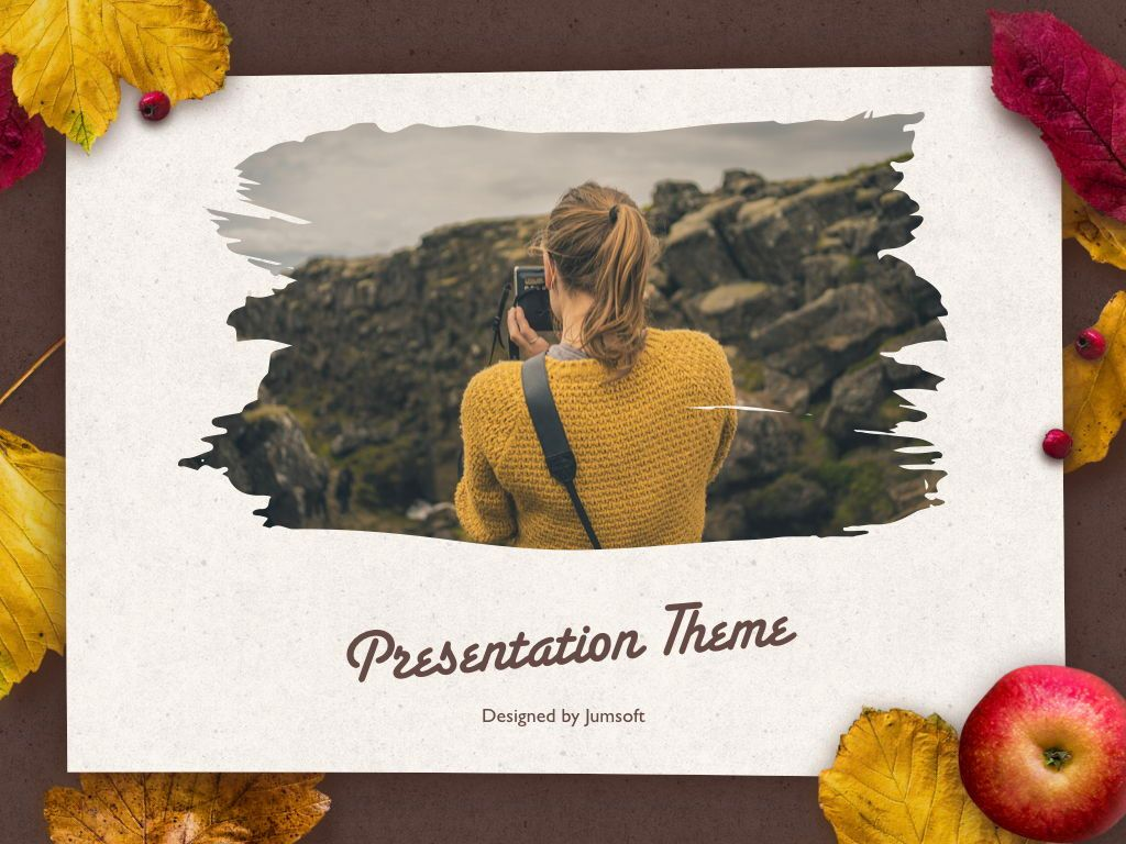 Golden Leaves Keynote Theme, Slide 13, 05079, Presentation Templates — PoweredTemplate.com