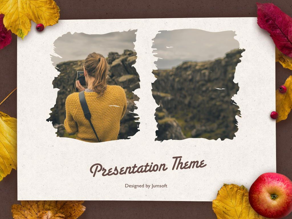 Golden Leaves Keynote Theme, Slide 14, 05079, Presentation Templates — PoweredTemplate.com