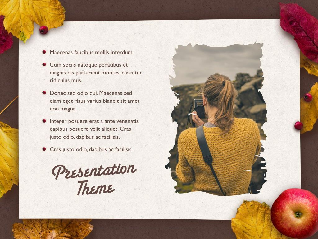 Golden Leaves Keynote Theme, Slide 19, 05079, Presentation Templates — PoweredTemplate.com