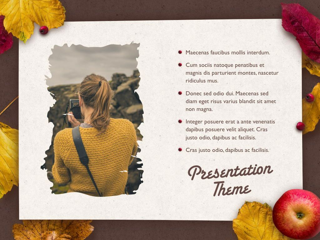 Golden Leaves Keynote Theme, Slide 20, 05079, Presentation Templates — PoweredTemplate.com