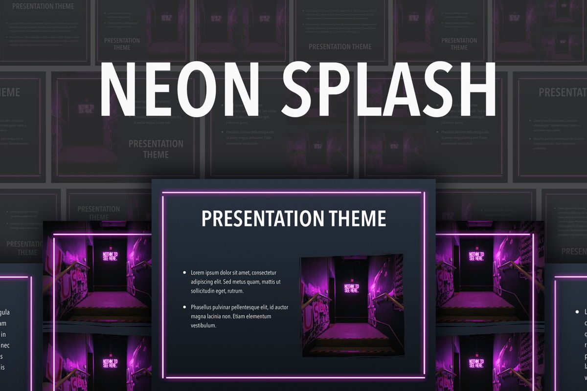 Neon Splash Keynote Theme, 05081, Presentation Templates — PoweredTemplate.com