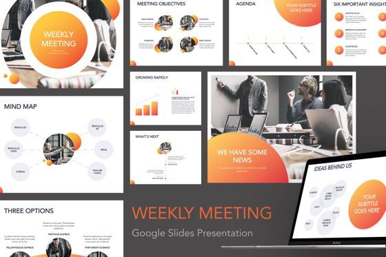 Presentation Templates: Weekly Meeting Google Slides Template #05086