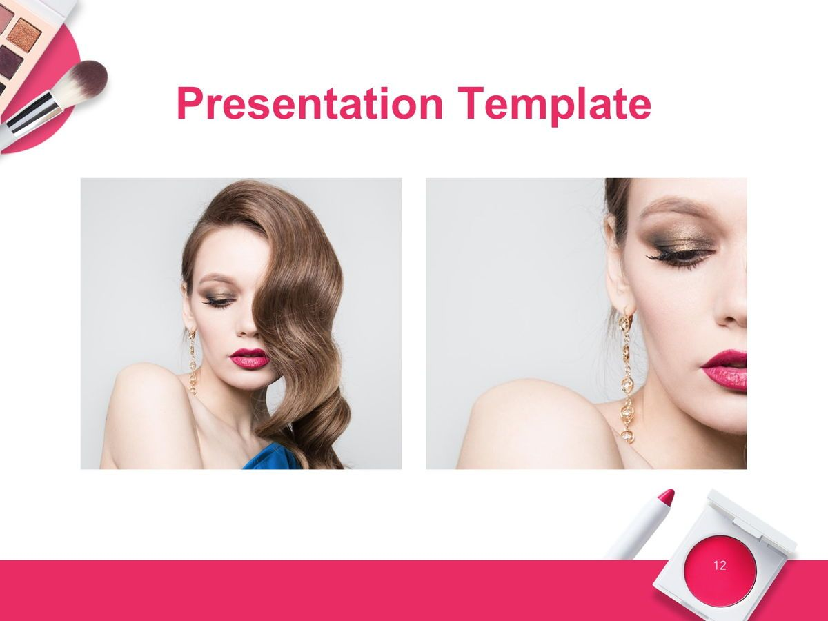 Beauty Makeup Google Slides Theme, Slide 13, 05088, Presentation Templates — PoweredTemplate.com