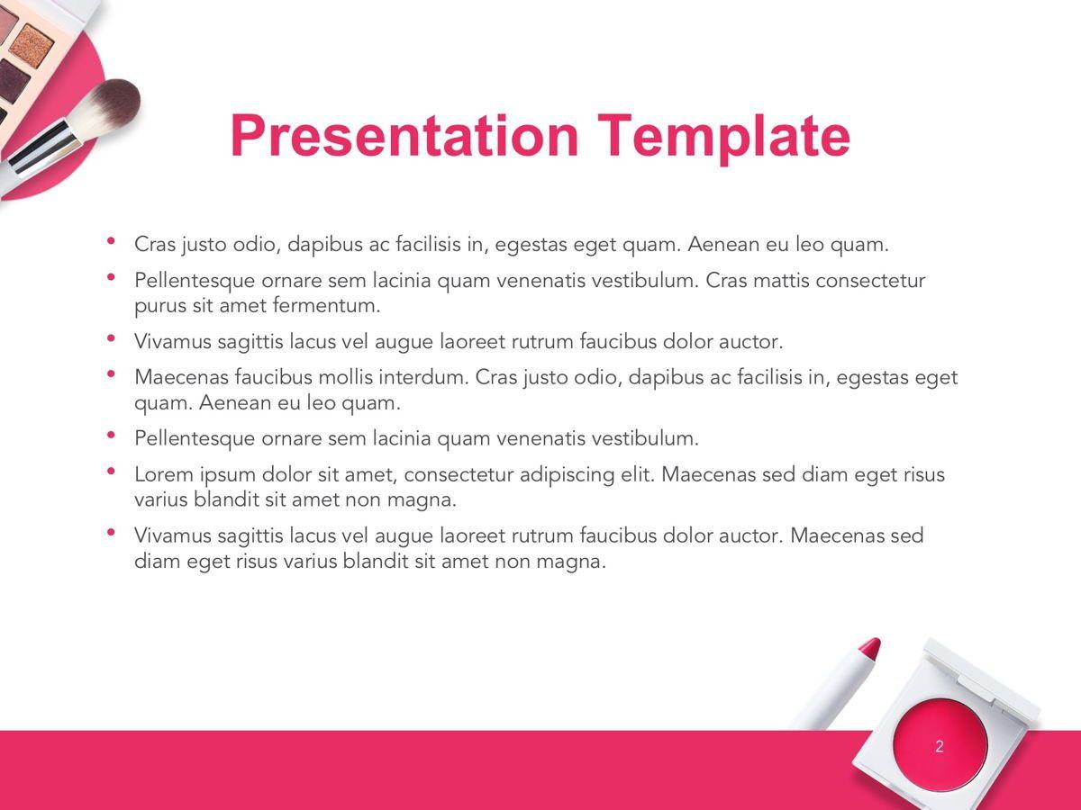 Beauty Makeup Google Slides Theme, Slide 3, 05088, Presentation Templates — PoweredTemplate.com