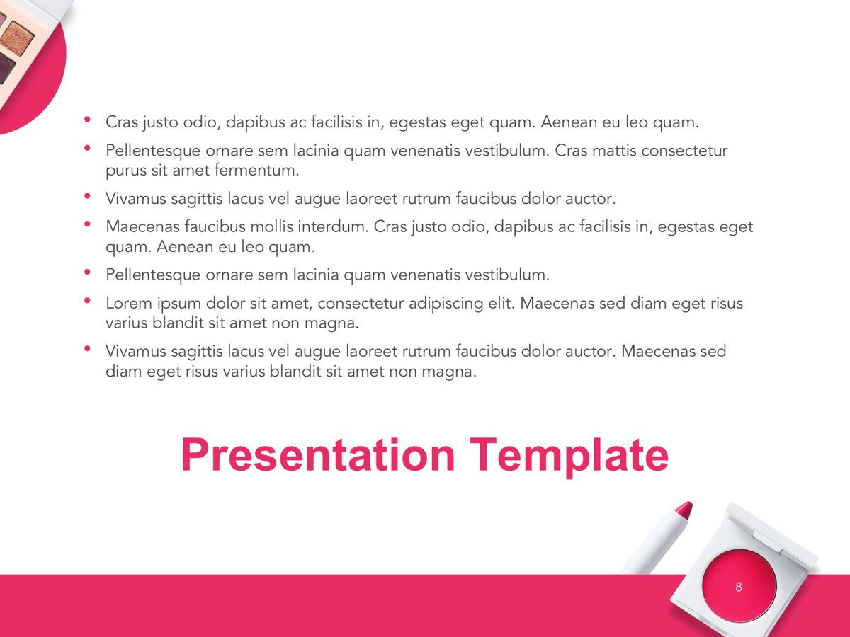 Beauty Makeup Google Slides Theme, Slide 9, 05088, Presentation Templates — PoweredTemplate.com