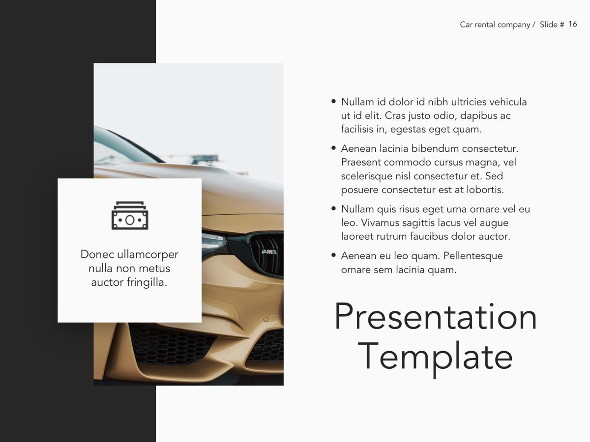 Car Rental Google Slides Theme, Slide 17, 05089, Presentation Templates — PoweredTemplate.com