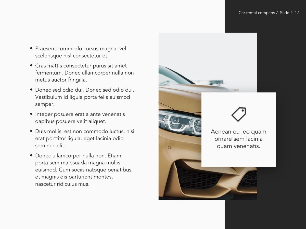 Car Rental Google Slides Theme, Slide 18, 05089, Presentation Templates — PoweredTemplate.com