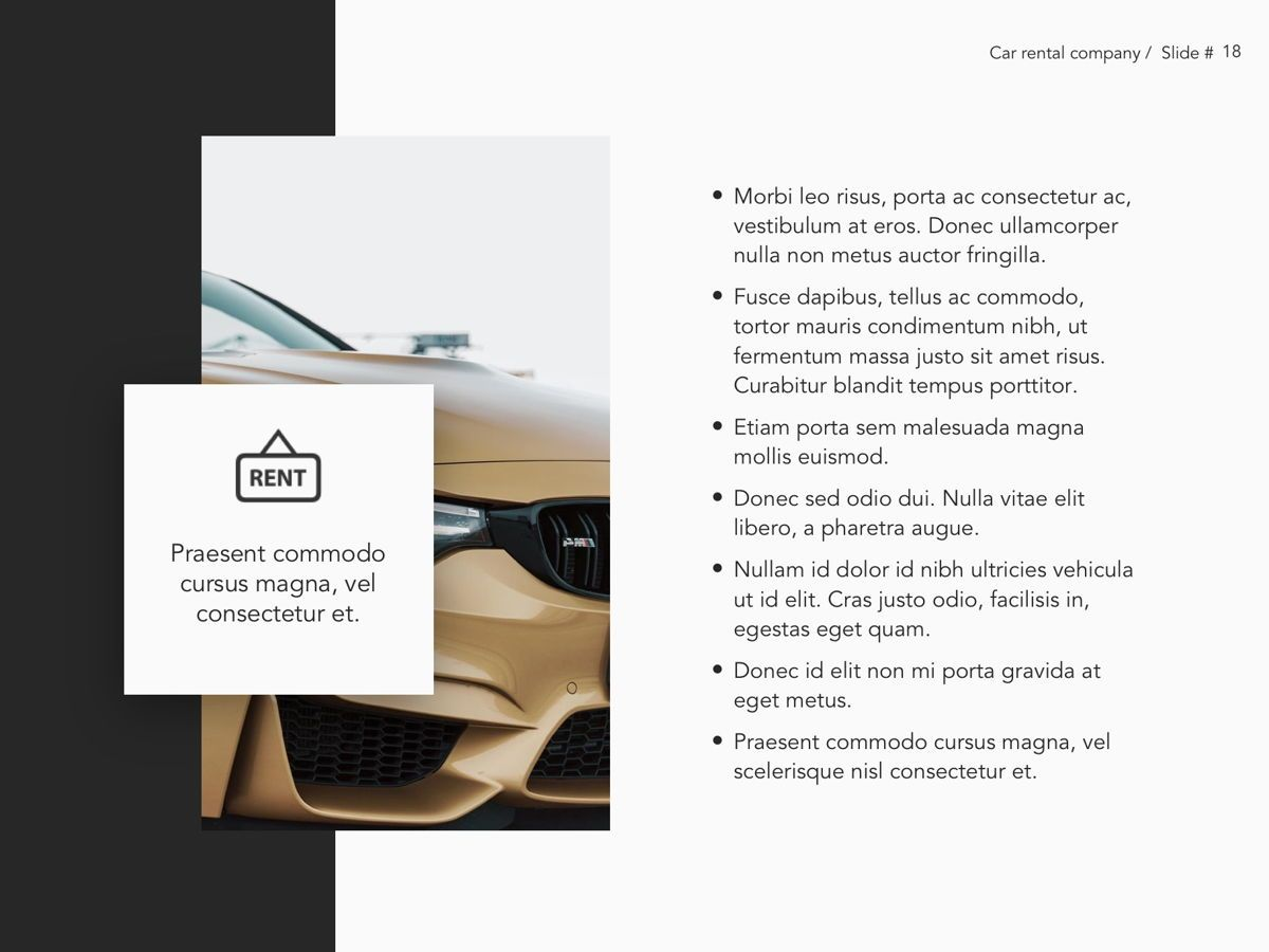 Car Rental Google Slides Theme, Slide 19, 05089, Presentation Templates — PoweredTemplate.com