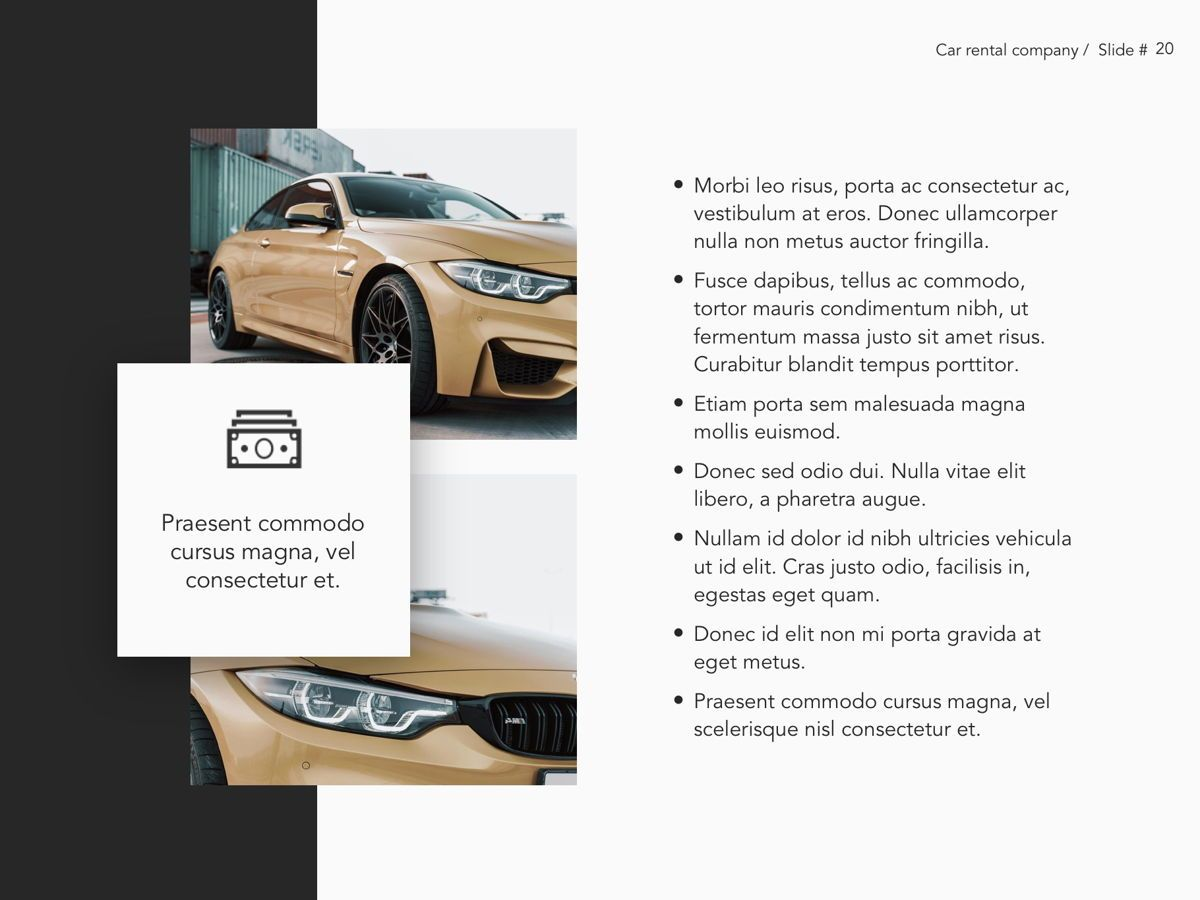 Car Rental Google Slides Theme, Slide 21, 05089, Presentation Templates — PoweredTemplate.com