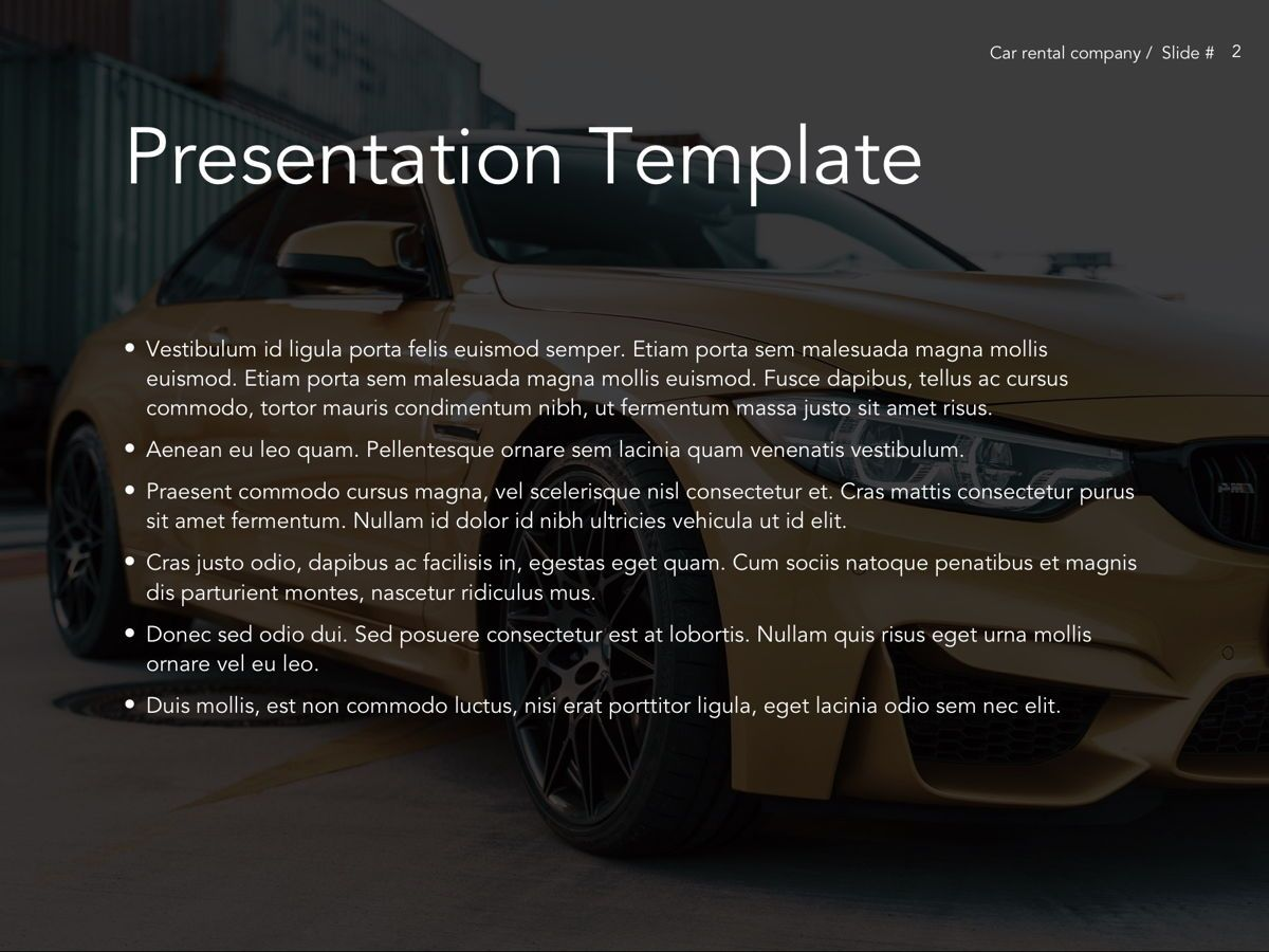 Car Rental Google Slides Theme, Slide 3, 05089, Presentation Templates — PoweredTemplate.com