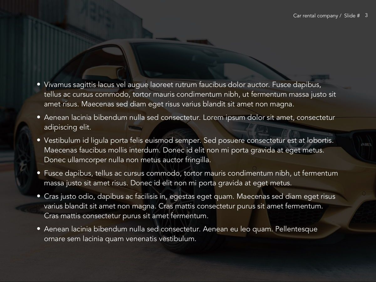 Car Rental Google Slides Theme, Slide 4, 05089, Presentation Templates — PoweredTemplate.com