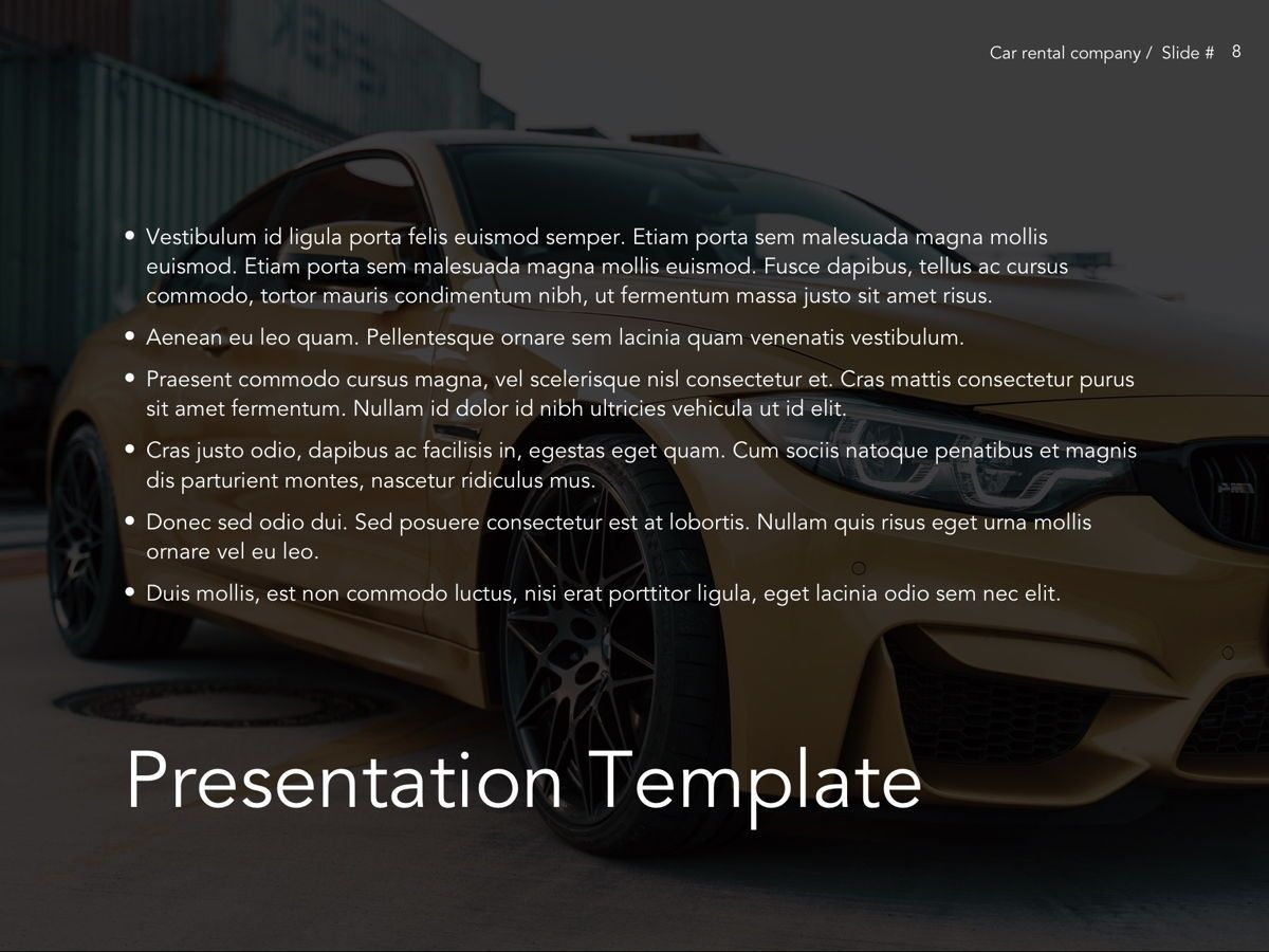Car Rental Google Slides Theme, Slide 9, 05089, Presentation Templates — PoweredTemplate.com
