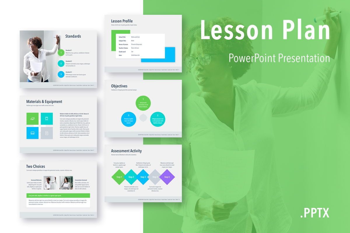 Lesson Plan PowerPoint Template, 05090, Education Charts and Diagrams — PoweredTemplate.com