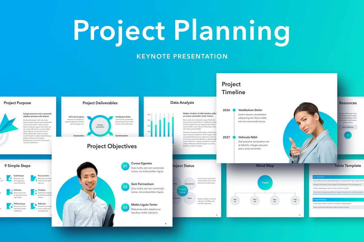 Project Planning Keynote Template, 05091, Presentation Templates — PoweredTemplate.com