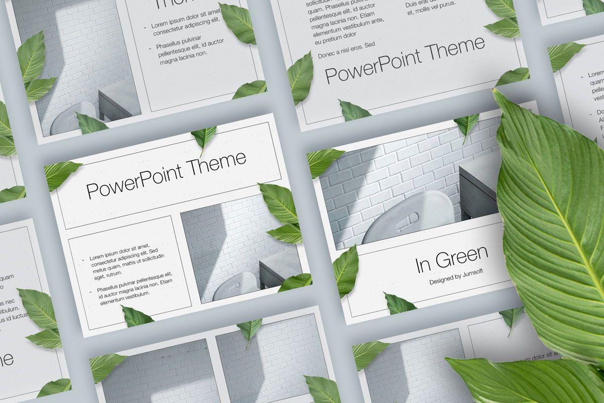In Green PowerPoint Theme, 05094, Presentation Templates — PoweredTemplate.com