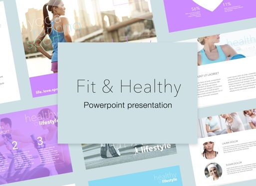 Presentation Templates: Fit Healthy Powerpoint Presentation Template #05105