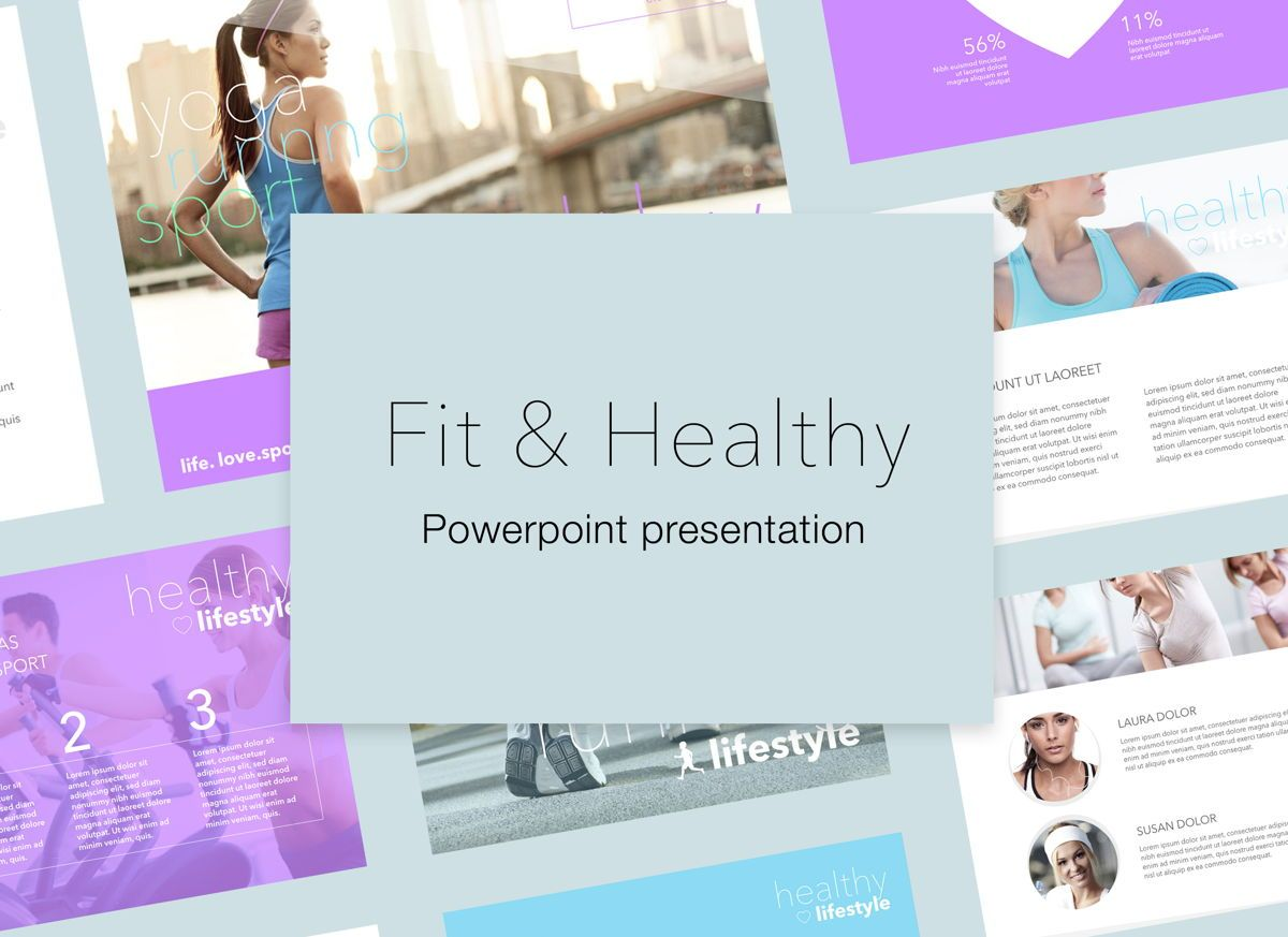 Fit Healthy Powerpoint Presentation Template, 05105, Presentation Templates — PoweredTemplate.com