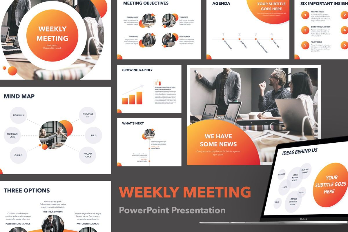 Weekly Meeting PowerPoint Template, 05114, Presentation Templates — PoweredTemplate.com
