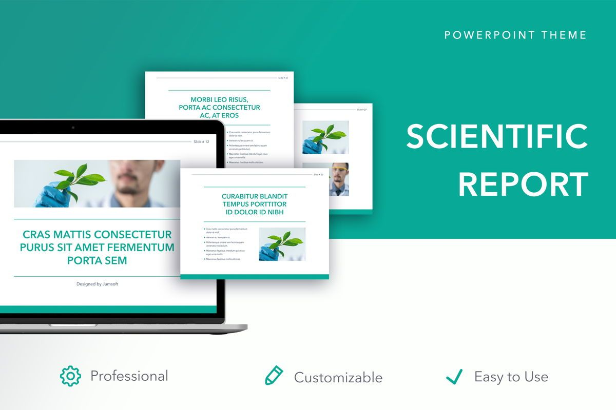 Scientific Report PowerPoint Theme, 05116, Education Charts and Diagrams — PoweredTemplate.com