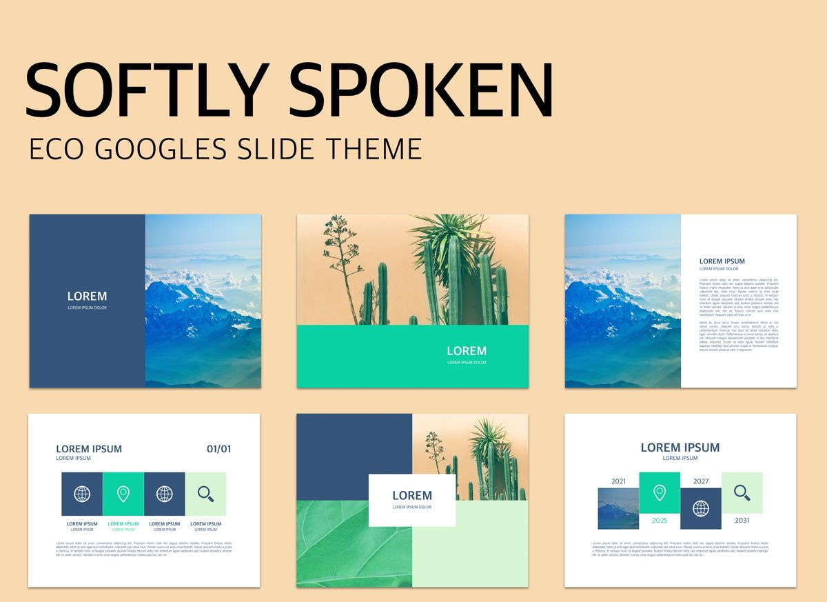 Softly Spoken Google Slides Presentation Template, 05136, Presentation Templates — PoweredTemplate.com