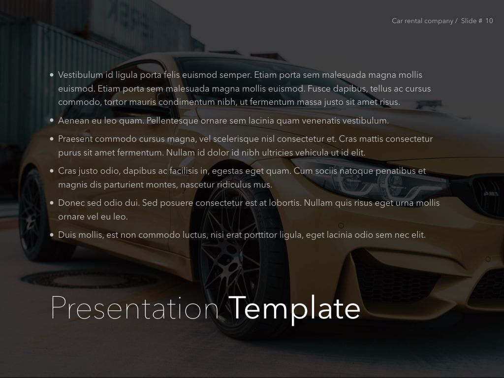 Car Rental Keynote Theme, Slide 11, 05140, Presentation Templates — PoweredTemplate.com
