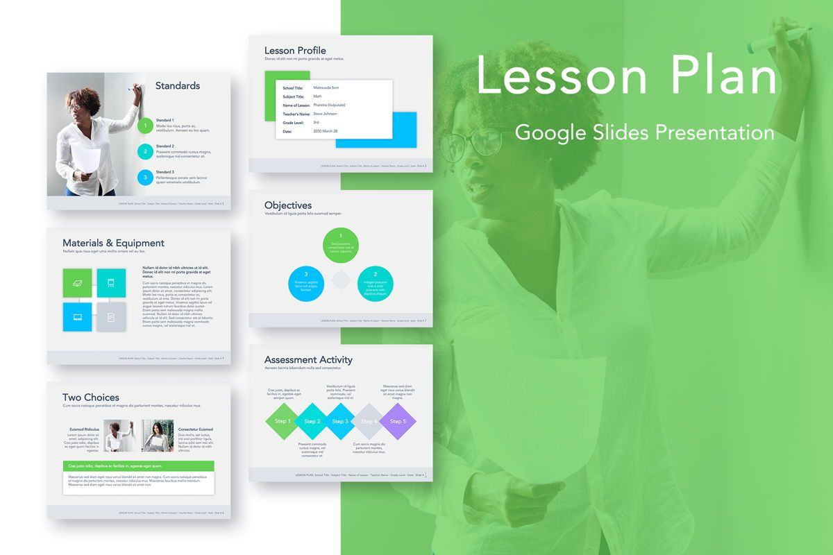 Lesson Plan Google Slides Template, 05143, Presentation Templates — PoweredTemplate.com